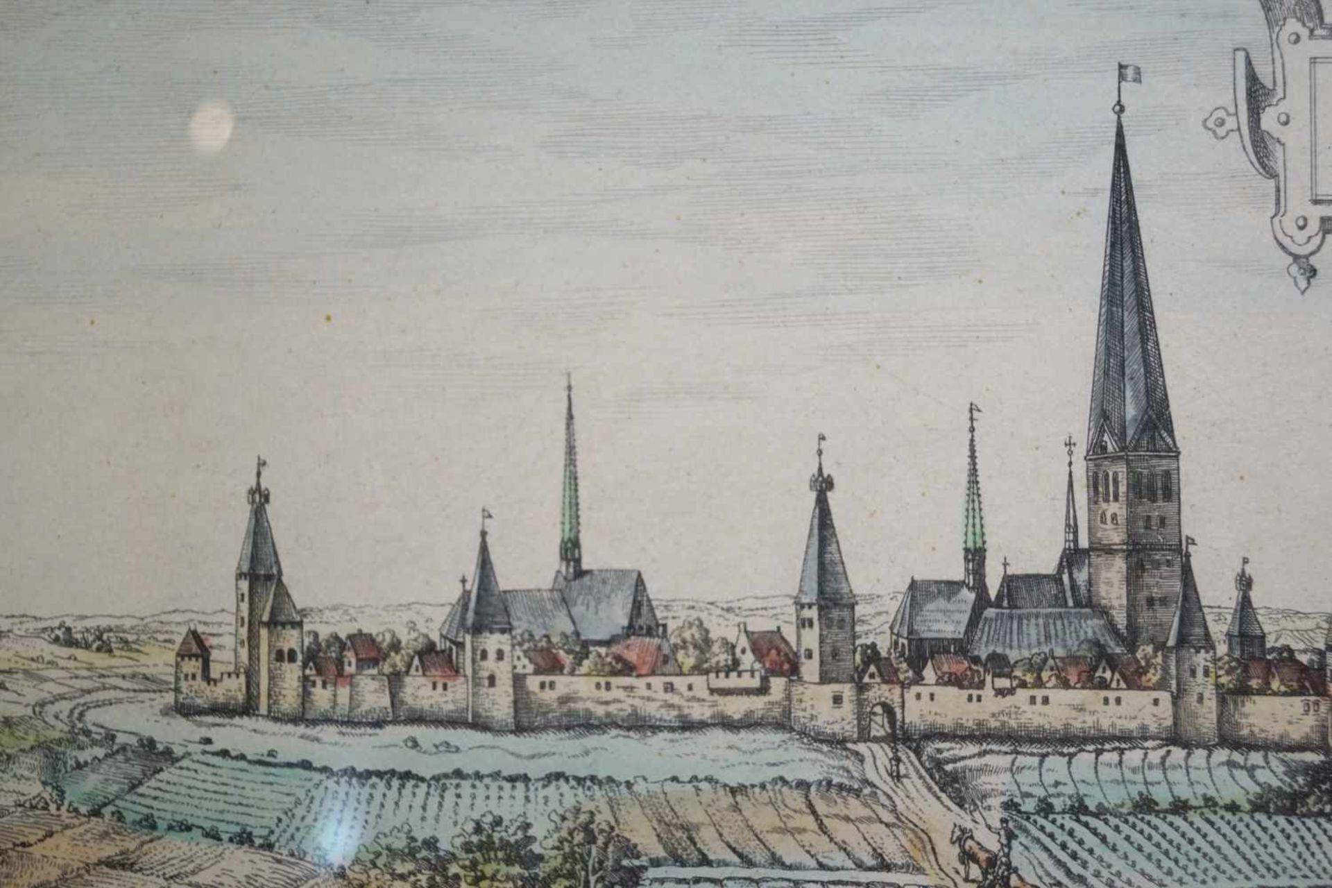 Ansicht von Dortmund im Mittelalter Farbstich, unter Glas gerahmt, Höhe 34,5 cm x Breite 71 cm, in - Bild 4 aus 5