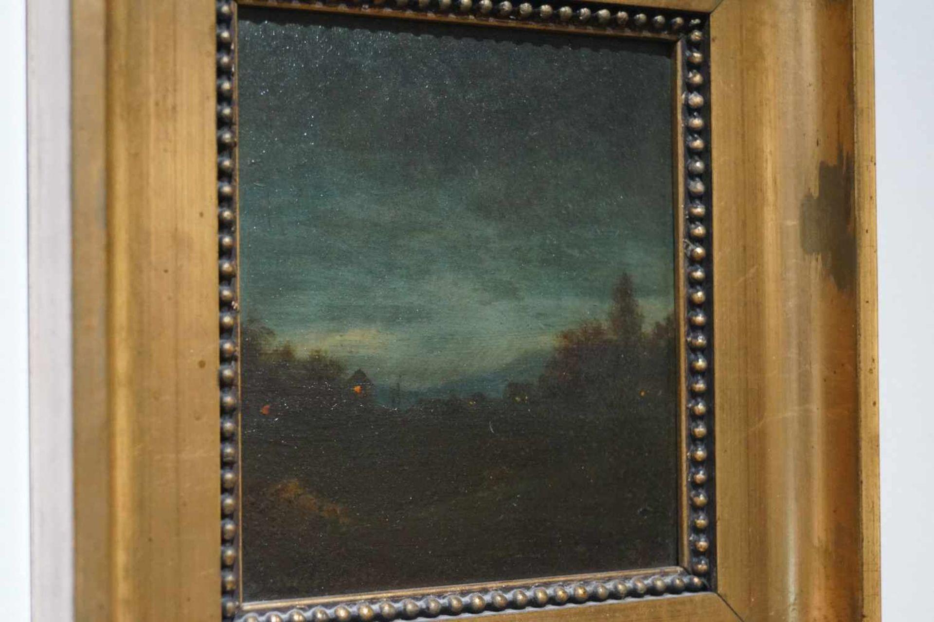 Zwei kleine Mondscheinlandschaften Konrad Hallenstein, Öl auf Karton, gerahmt, Höhe 21,5 cm x Breite - Bild 5 aus 6