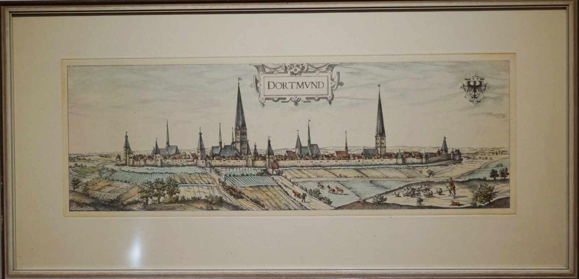 Ansicht von Dortmund im Mittelalter Farbstich, unter Glas gerahmt, Höhe 34,5 cm x Breite 71 cm, in
