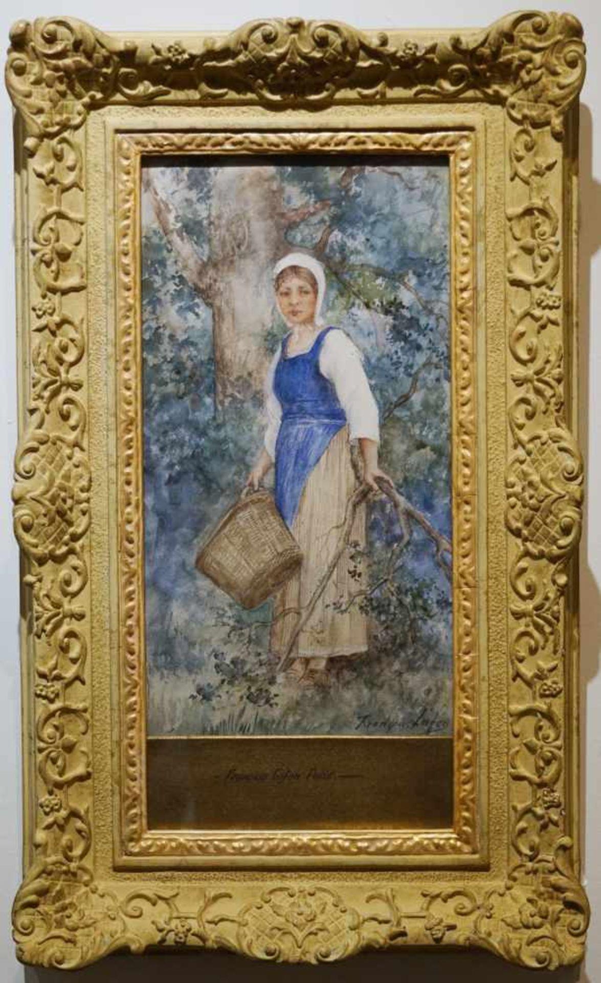 Magd mit Korb in der Natur Francois Lafon (1846-1920), Mischtechnik auf Platte, unter Glas