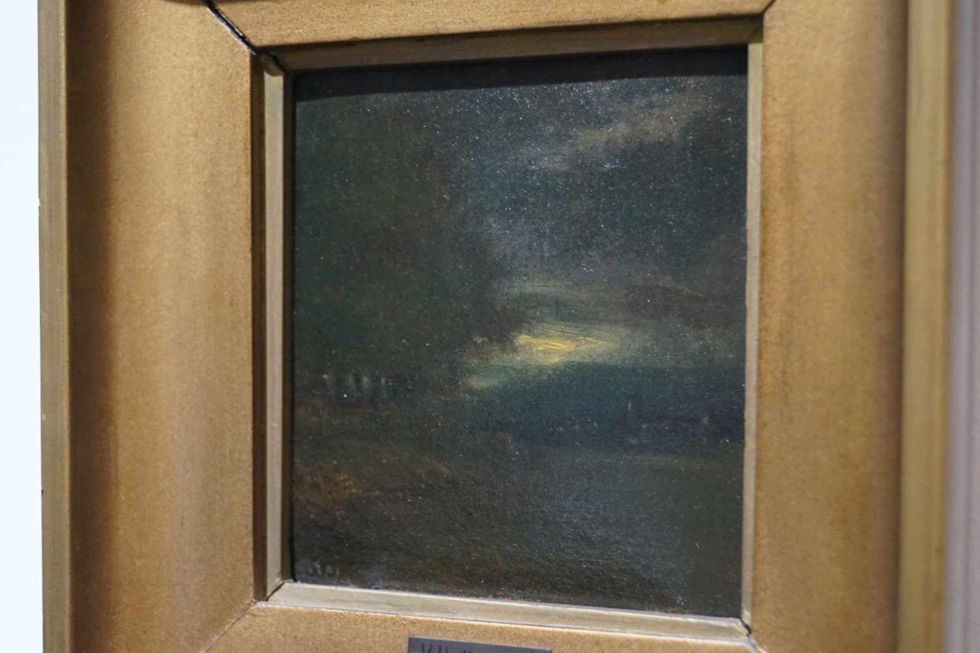 Zwei kleine Mondscheinlandschaften Konrad Hallenstein, Öl auf Karton, gerahmt, Höhe 21,5 cm x Breite - Bild 3 aus 6