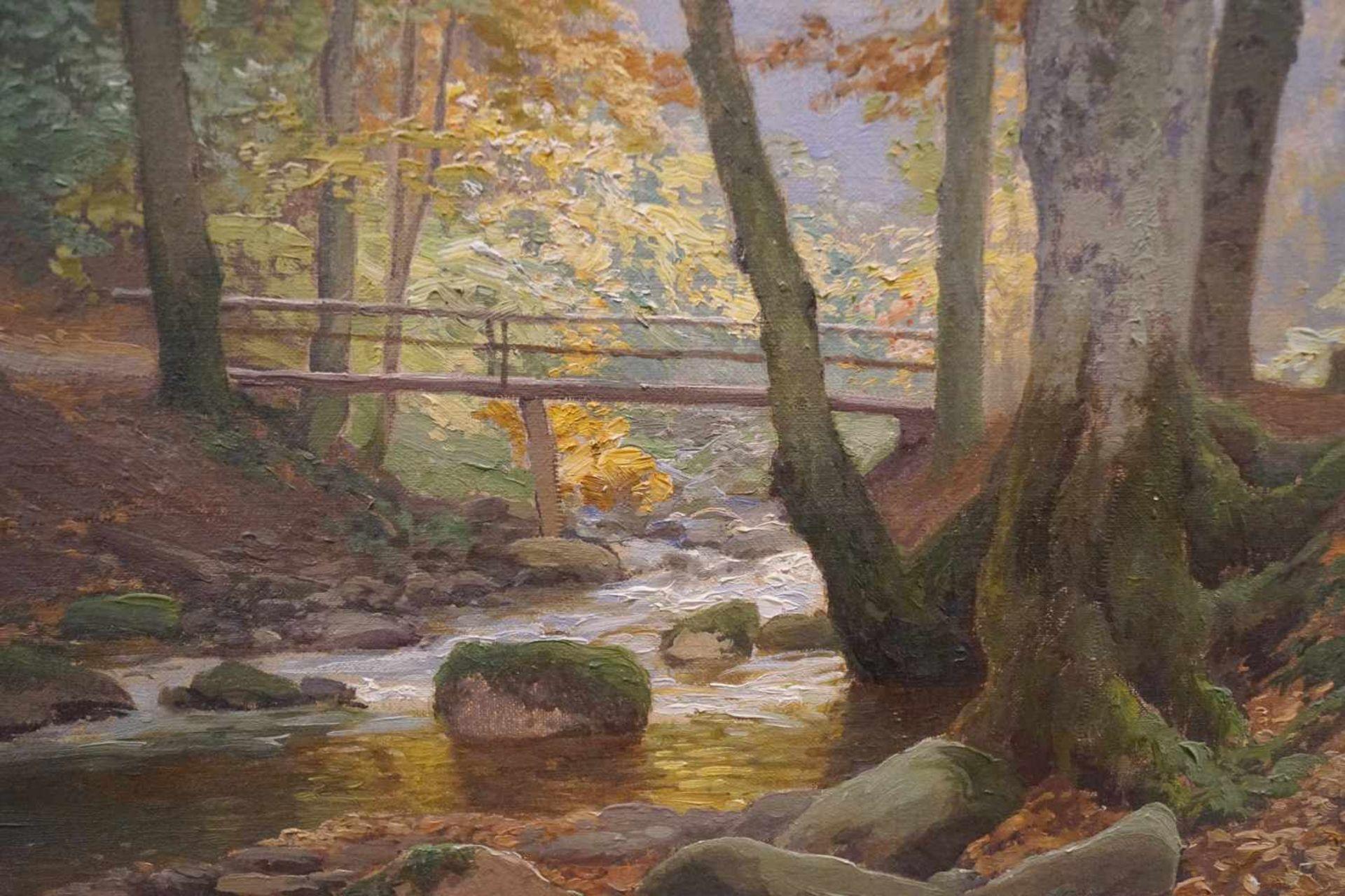 Sonnendurchflutetes Waldstück Heinrich Böhmer der Ältere (1852-1930), Öl/Leinwand, unten links - Bild 2 aus 3