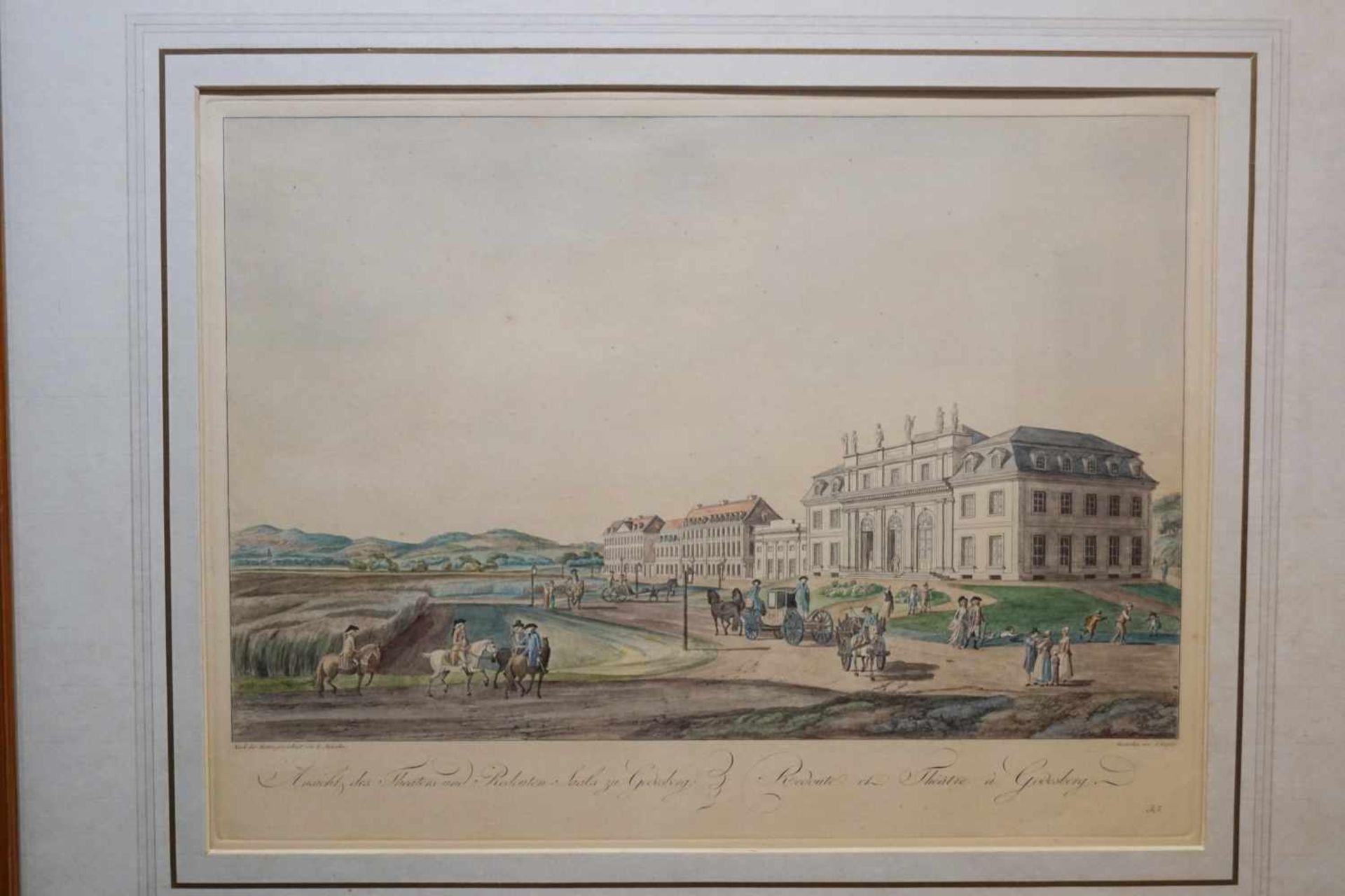 """Kupferstich """"Ansicht des Theaters und Redouten-Saals zu Godesberg"""" Johann Ziegler (1750-1812), unter - Bild 2 aus 3"""