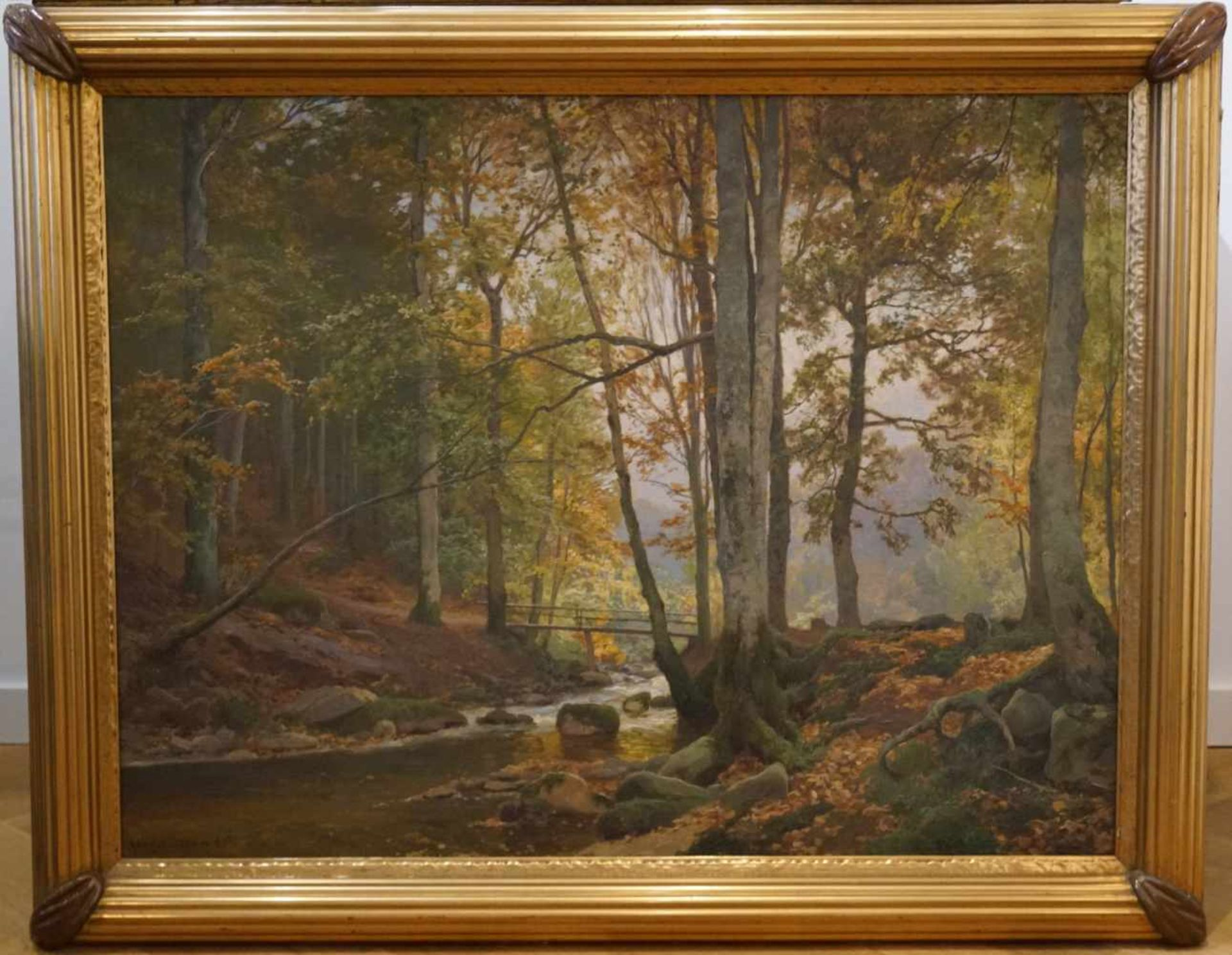 Sonnendurchflutetes Waldstück Heinrich Böhmer der Ältere (1852-1930), Öl/Leinwand, unten links