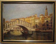 Ansicht der Rialtobrücke unten rechts signiert, Rahmen, Höhe 69 cm x Breite 89 cm, in einem guten