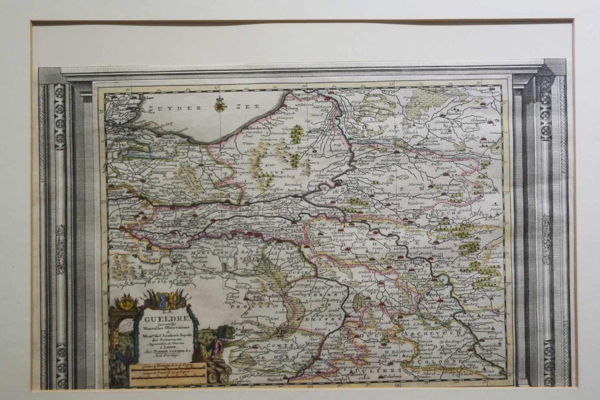 Historische Landkarten v. Westfalen u. Gelderland Niederlande, gerahmt, Maße der Karte von - Bild 2 aus 2