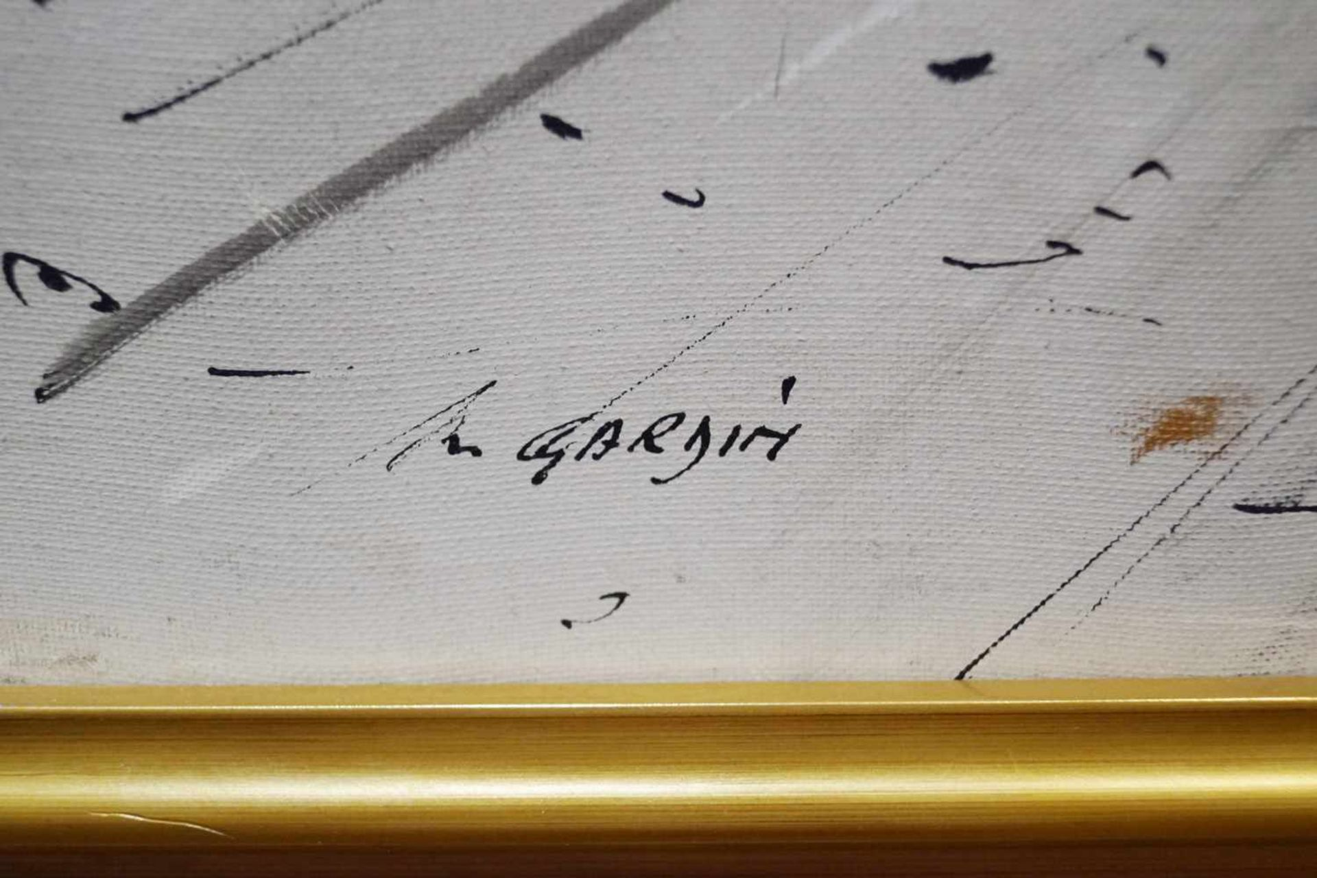 Pariser StraßenszeneÖl auf Leinwand, André Gardin (1918 - 1959), Höhe 73,5 cm x Breite 103,5 cm, 3 - Bild 2 aus 2