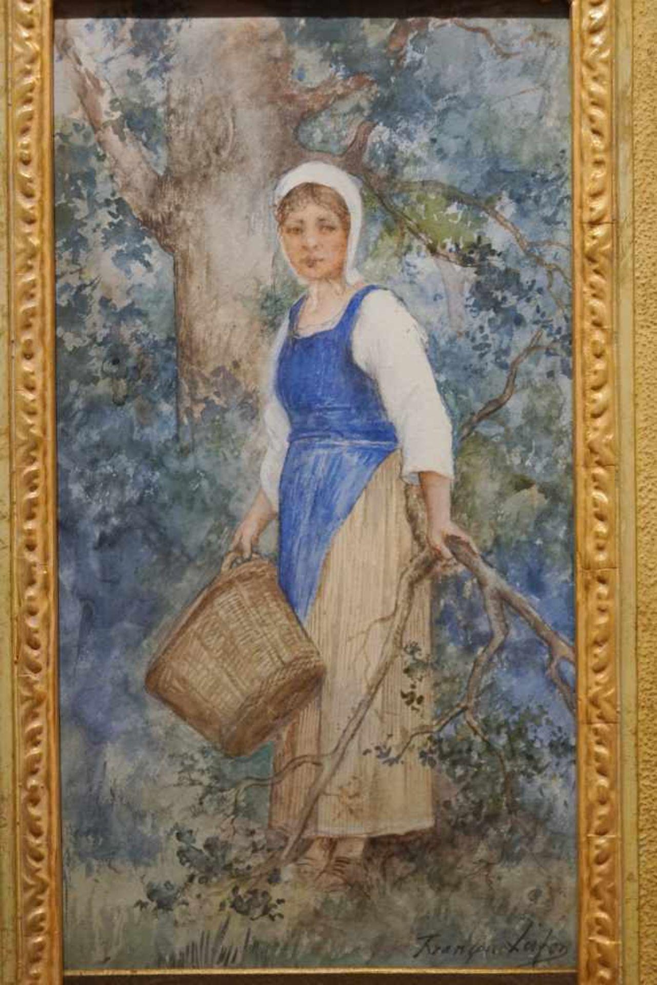 Magd mit Korb in der Natur Francois Lafon (1846-1920), Mischtechnik auf Platte, unter Glas - Bild 2 aus 4