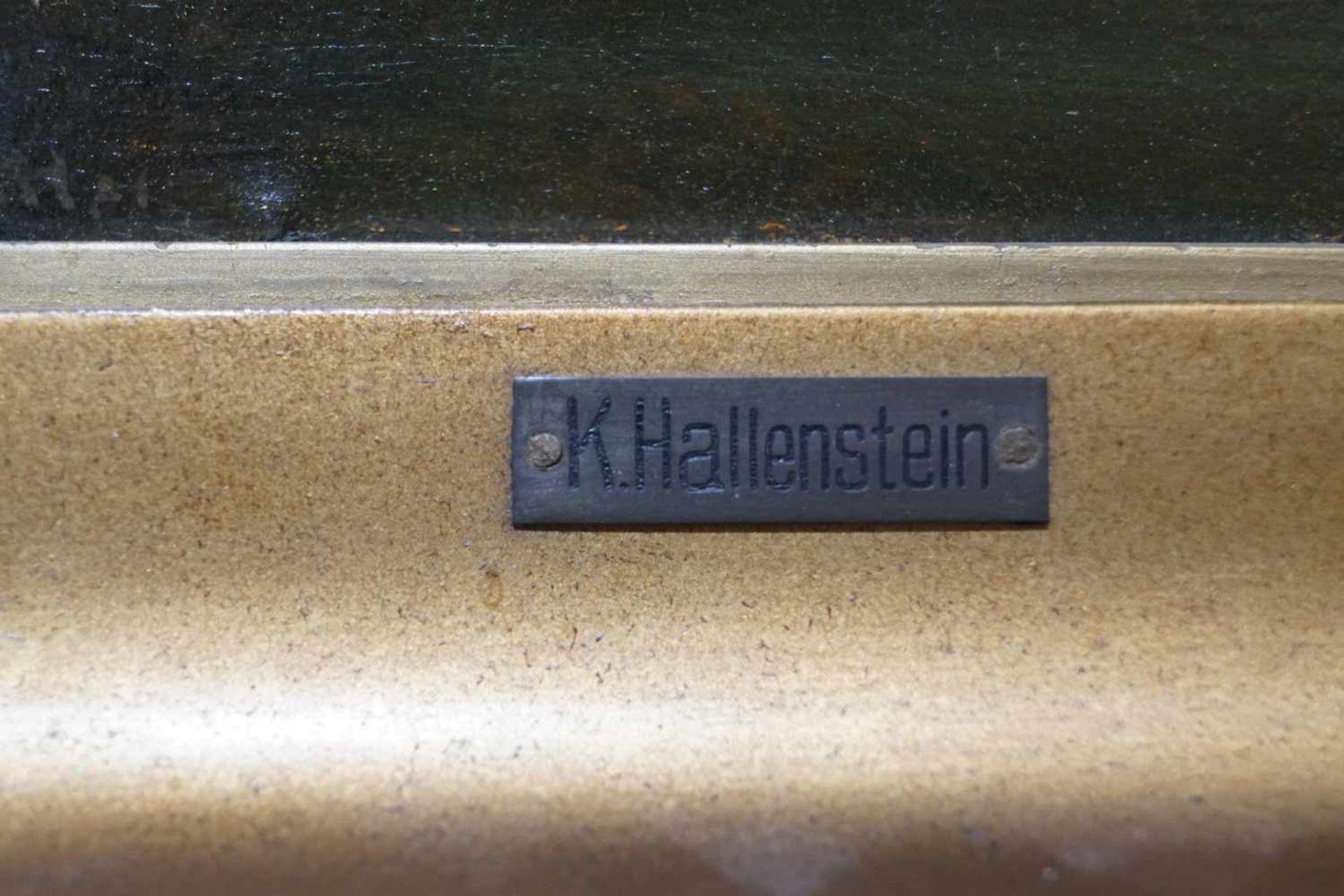 Zwei kleine Mondscheinlandschaften Konrad Hallenstein, Öl auf Karton, gerahmt, Höhe 21,5 cm x Breite - Bild 4 aus 6