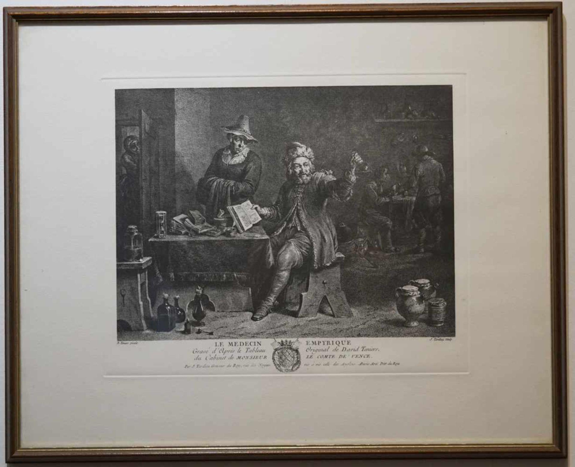 """""""Le Medecin Empyrique"""" Jean Baptiste Tardieu Stich nach einem Bild des Malers David Teniers, ca."""