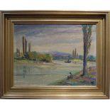 Angler am Altrhein Öl/Platte, Robert Lauth (1896-1985), Höhe 40 cm x Breite 49,5 cm, Bild in einem