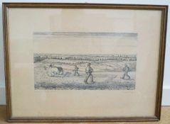 "Radierung ""Feldarbeit - Soester Börde"" Eberhard Viegener (1890-1967), Blattmaß 53 cm x 39,5 cm,"