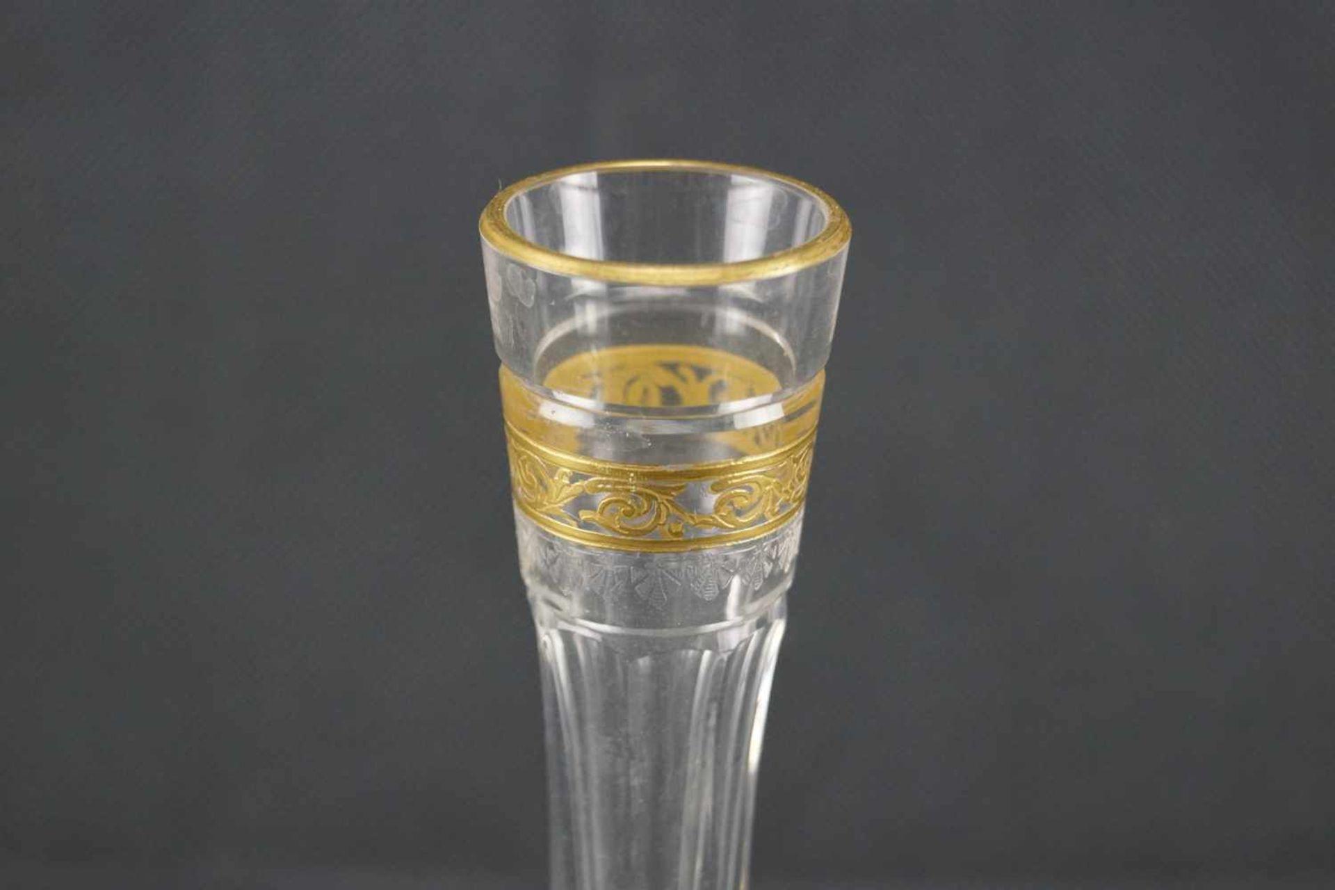 Vase, Saint Louis Mit Ätzmarke versehen, Serie Thistle Gold, Höhe 17,5 cm, Gold berieben, eine - Bild 2 aus 5