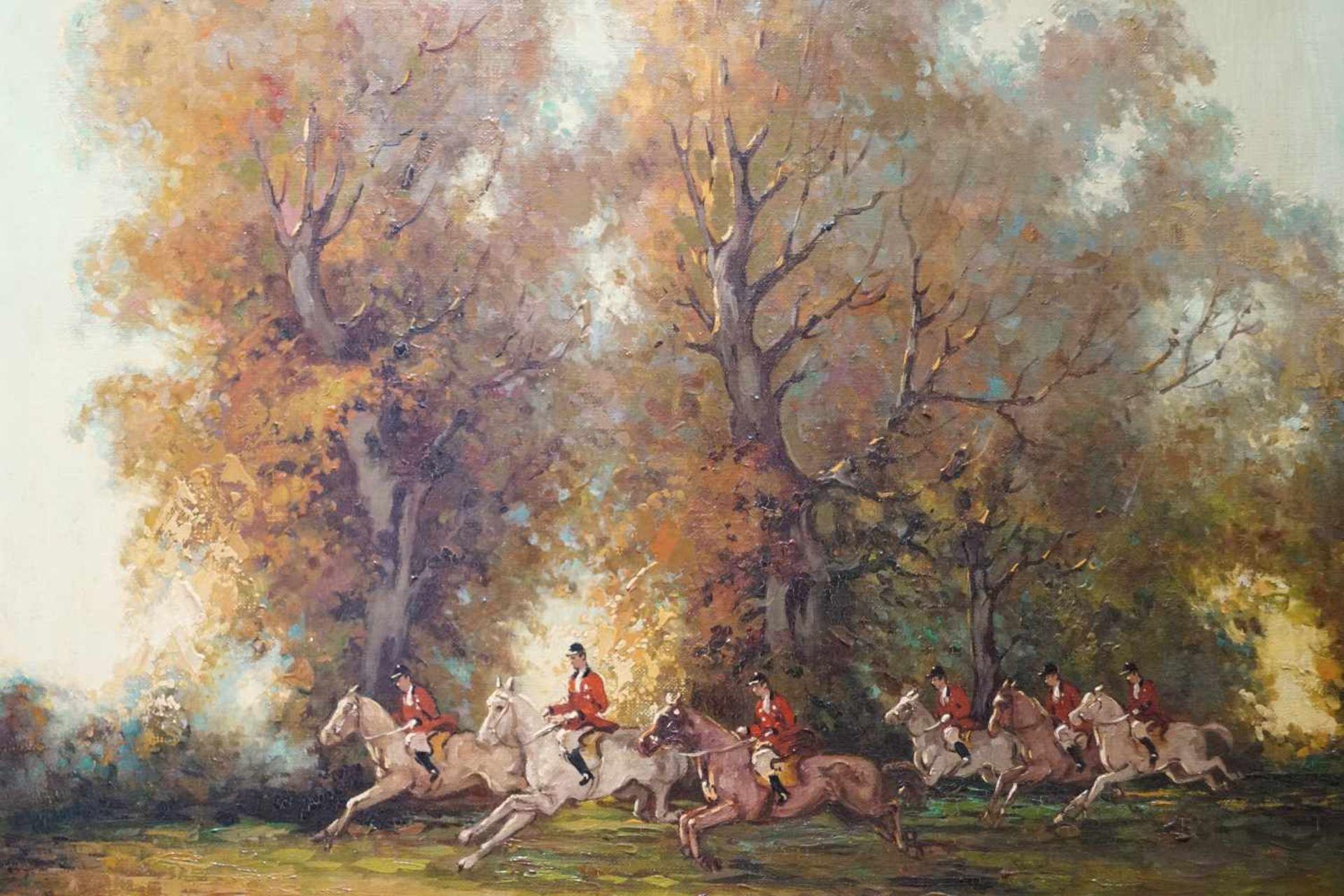 Parforcejagd Peter Otto Heim (1896-1966), Öl auf Leinwand, gerahmt, Höhe 66 cm x Breite 62 cm, - Bild 3 aus 3