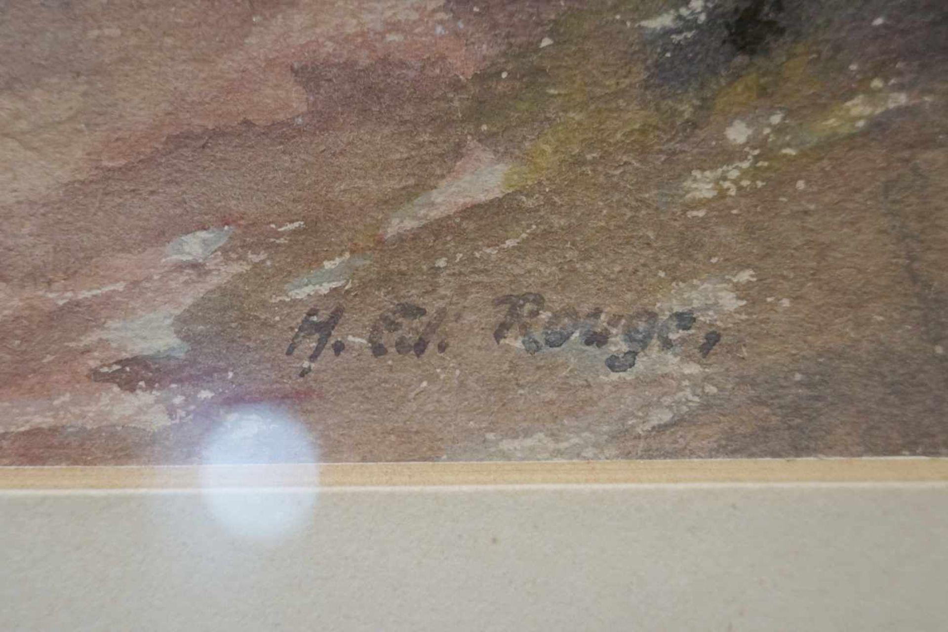 """""""Pfad durch einen Wald"""" Hugo Eduard Rouge, Aquarell/Gouache auf Zeichenkarton, unter Glas mit - Bild 2 aus 2"""