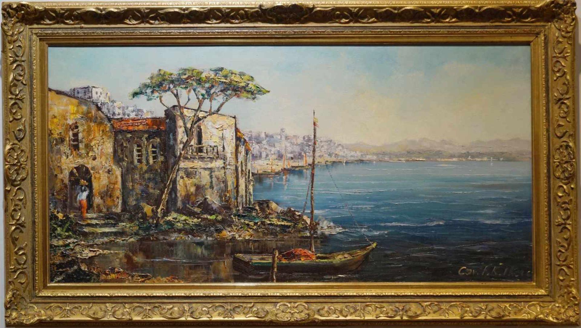 Italienische Küstenansicht Cav. Friedrich Karl Thauer (1924-2009), Öl auf Leinwand, signiert,
