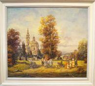 Kutschfahrt im Schlosspark Herbert Isenberg (1930), Öl auf Leinwand, gerahmt, Höhe 84 cm x Breite