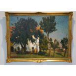 """""""Gutshof unter Kiefern"""" Richard Kaiser (1868-1941), Goldrahmen, Öl/Lwd, Höhe 75,8 cm x Breite 102,"""