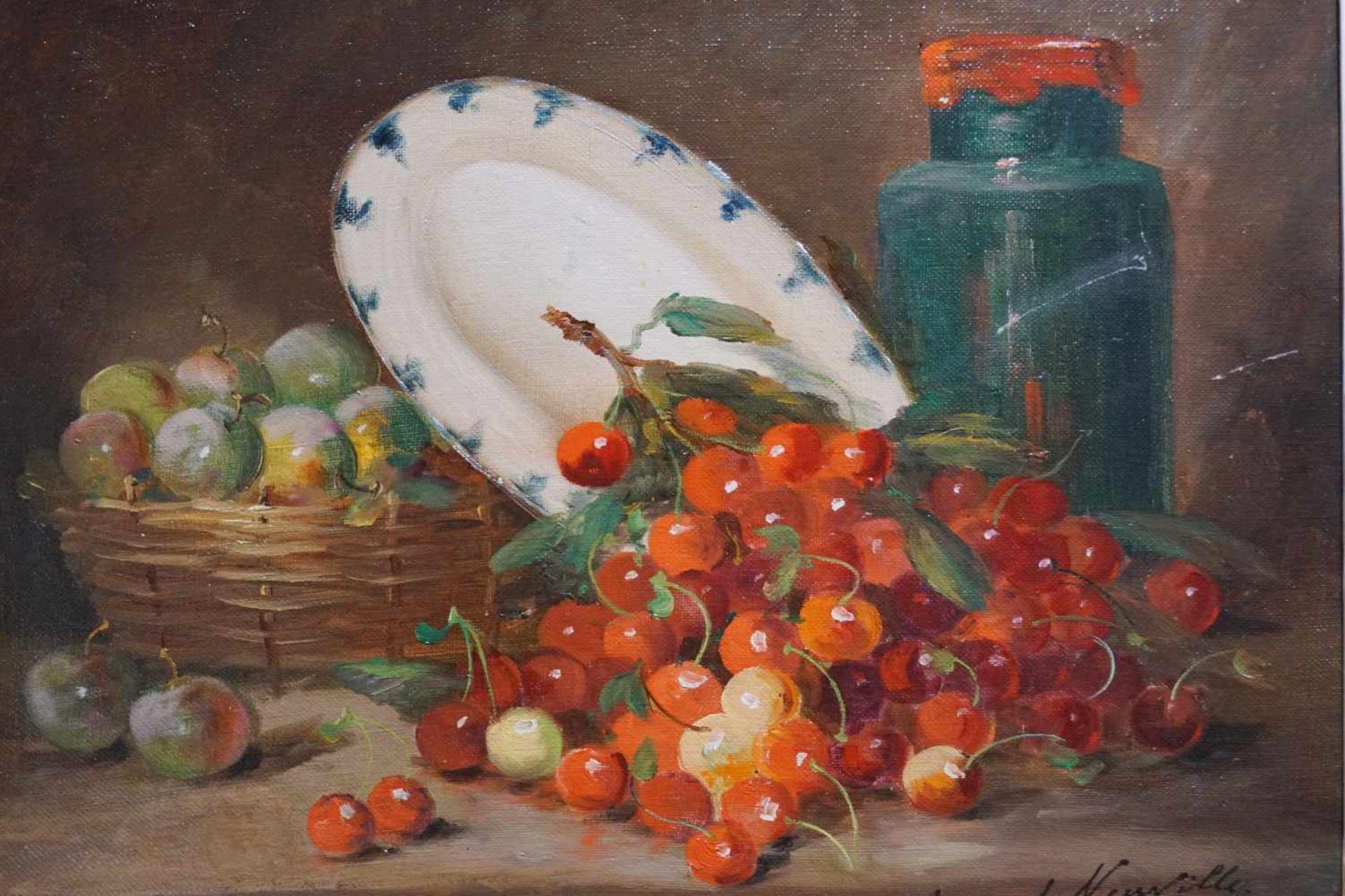 Stillleben mit Pflaumen und Kirschen Alfred Arthur Brunel Neuville (1852-1941), Öl auf Leinwand, - Bild 2 aus 3