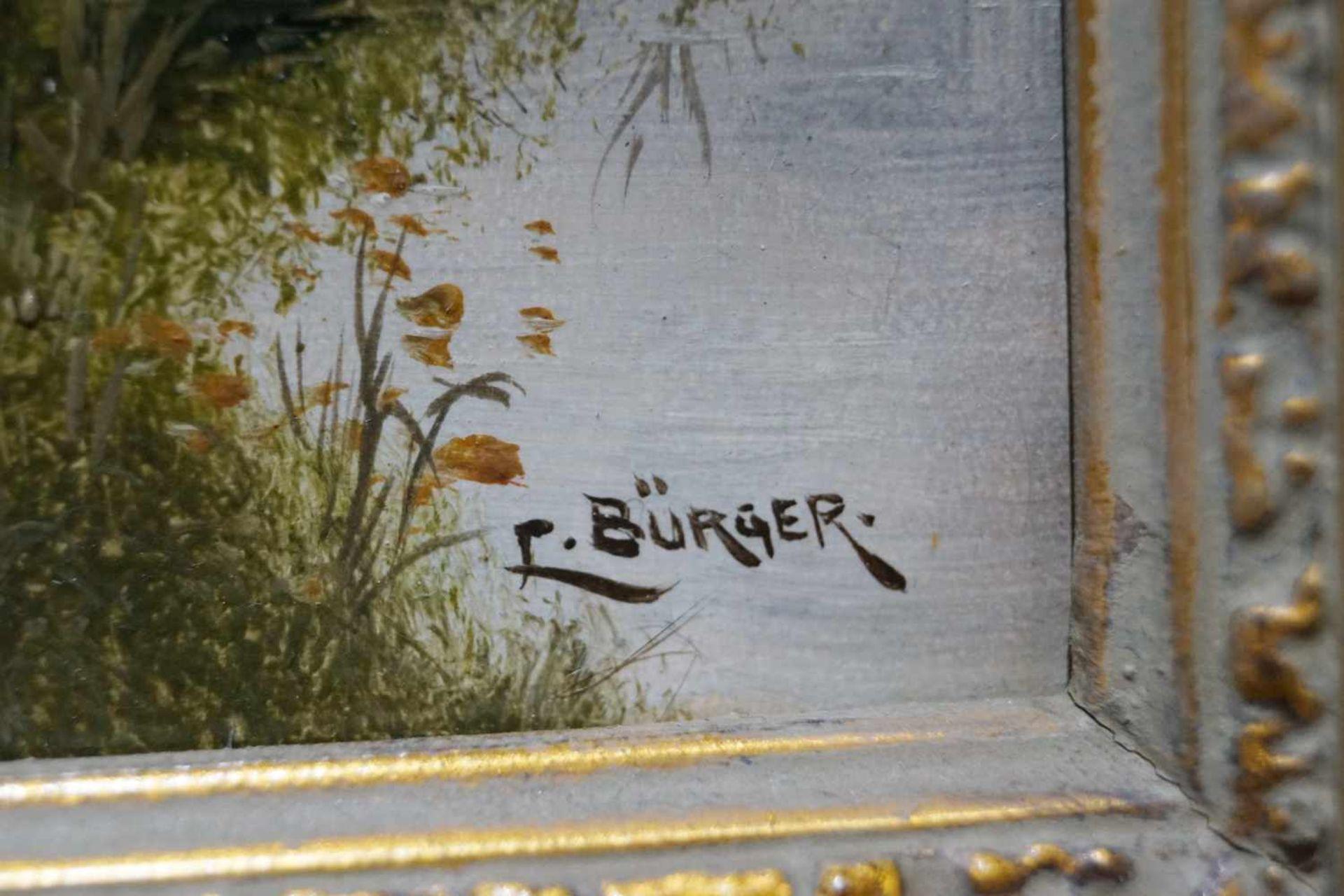 Schafherde am Fluss Felix Bürger, Öl auf Leinwand, gerahmt, Höhe 41,5 cm x Breite 26 cm, in sehr - Bild 2 aus 2