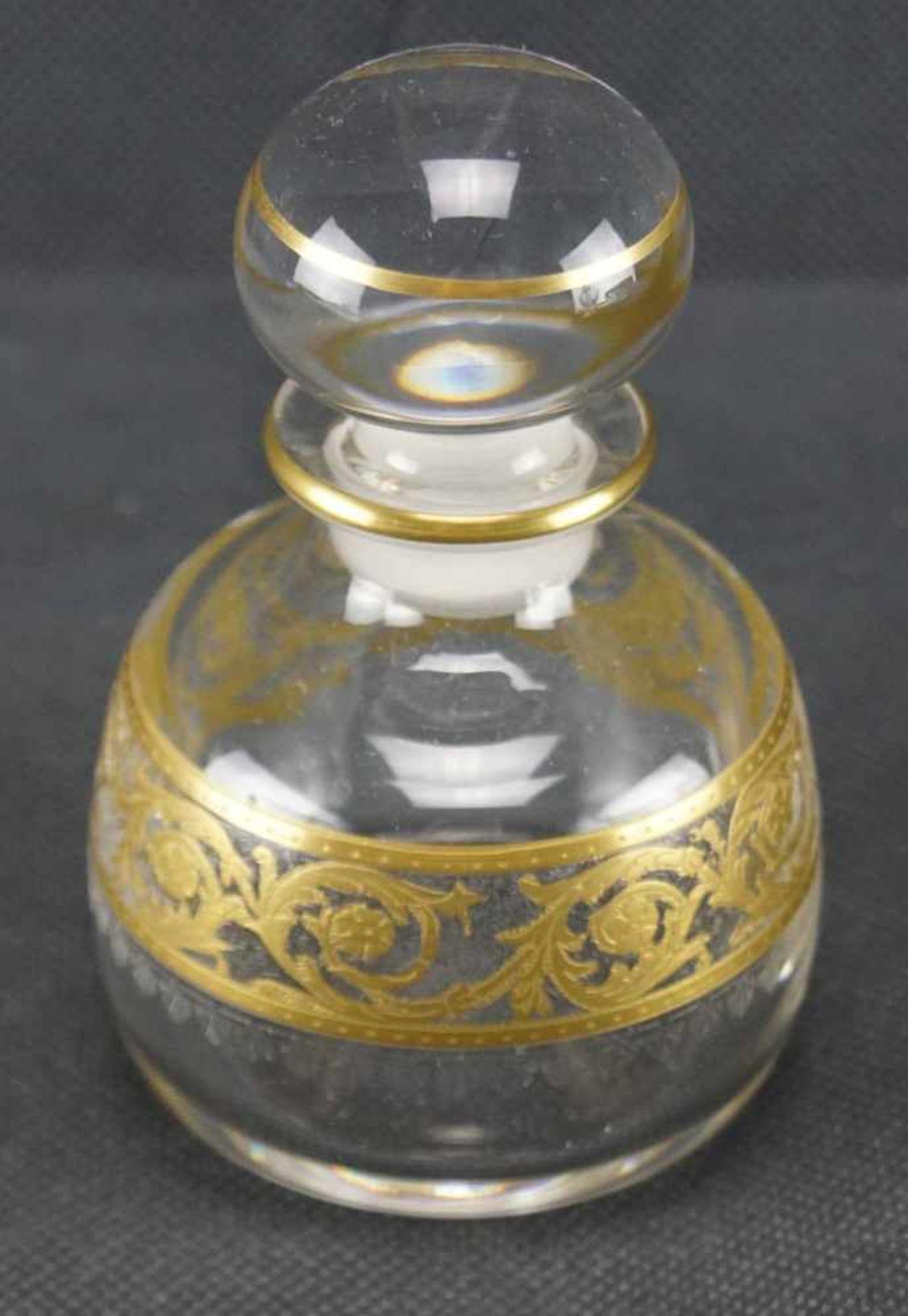 Parfumflakon, Saint Louis Mit Ätzmarke versehen, Serie Thistle Gold, Höhe 10,5 cm, in einem sehr