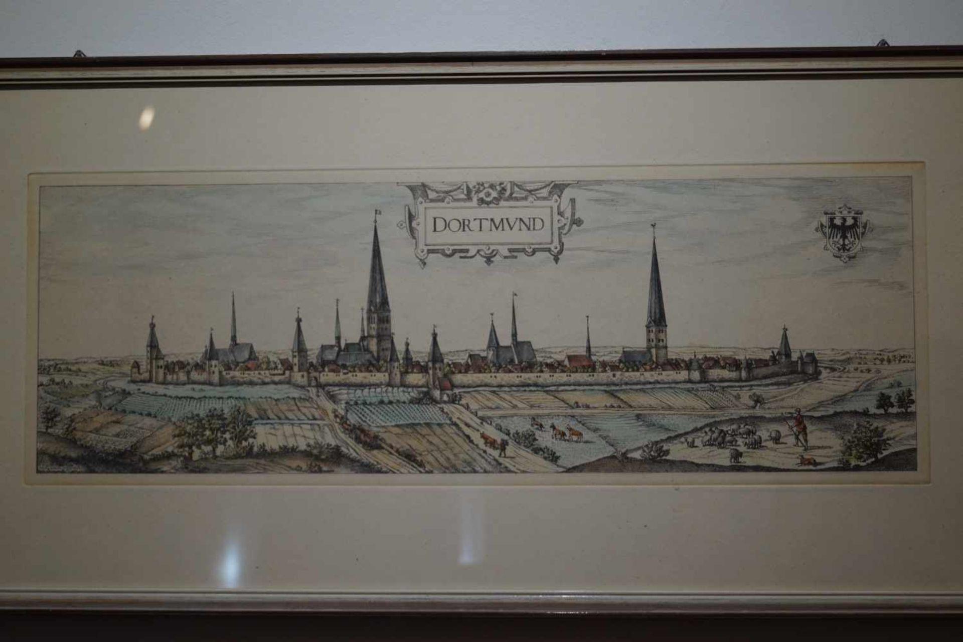 Ansicht von Dortmund im Mittelalter Farbstich, unter Glas gerahmt, Höhe 34,5 cm x Breite 71 cm, in - Bild 2 aus 5