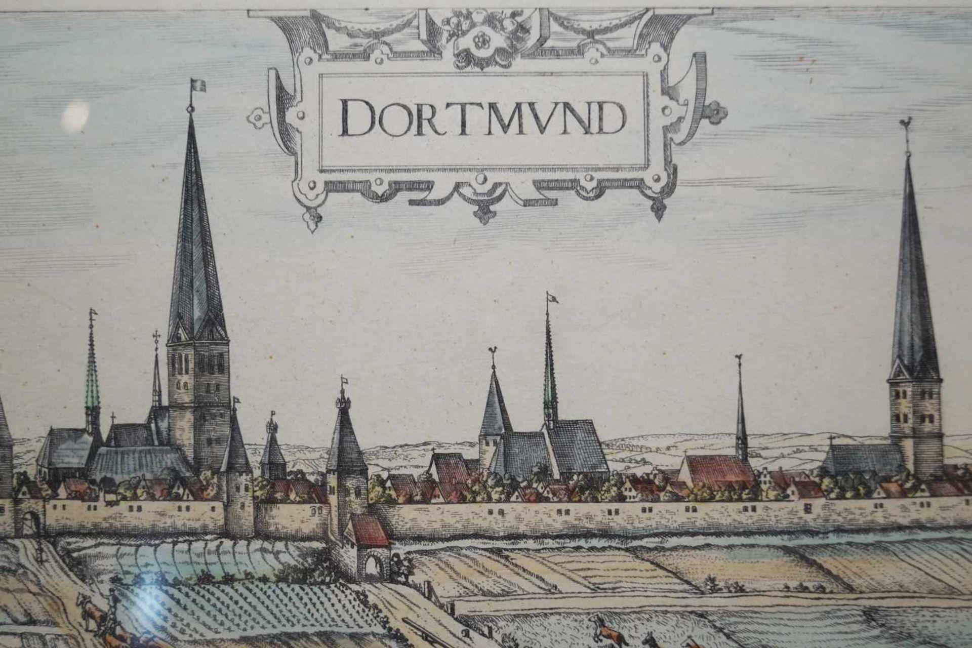 Ansicht von Dortmund im Mittelalter Farbstich, unter Glas gerahmt, Höhe 34,5 cm x Breite 71 cm, in - Bild 5 aus 5