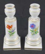 Zwei Leuchter, MeissenSchwertermarke 1. Wahl, Dekor Blume 3, Höhe 15cm, neuwertiger Zustand