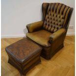 Sessel mit HockerChesterfield-Stil, braunes Leder, Maße des Sessels Höhe 103 cm x Breite 78 cm x
