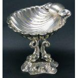 Aufsatzschale925er Silber, Aufsatz in Muschelform auf dreibeiniger Halterung in Form von Fischen auf