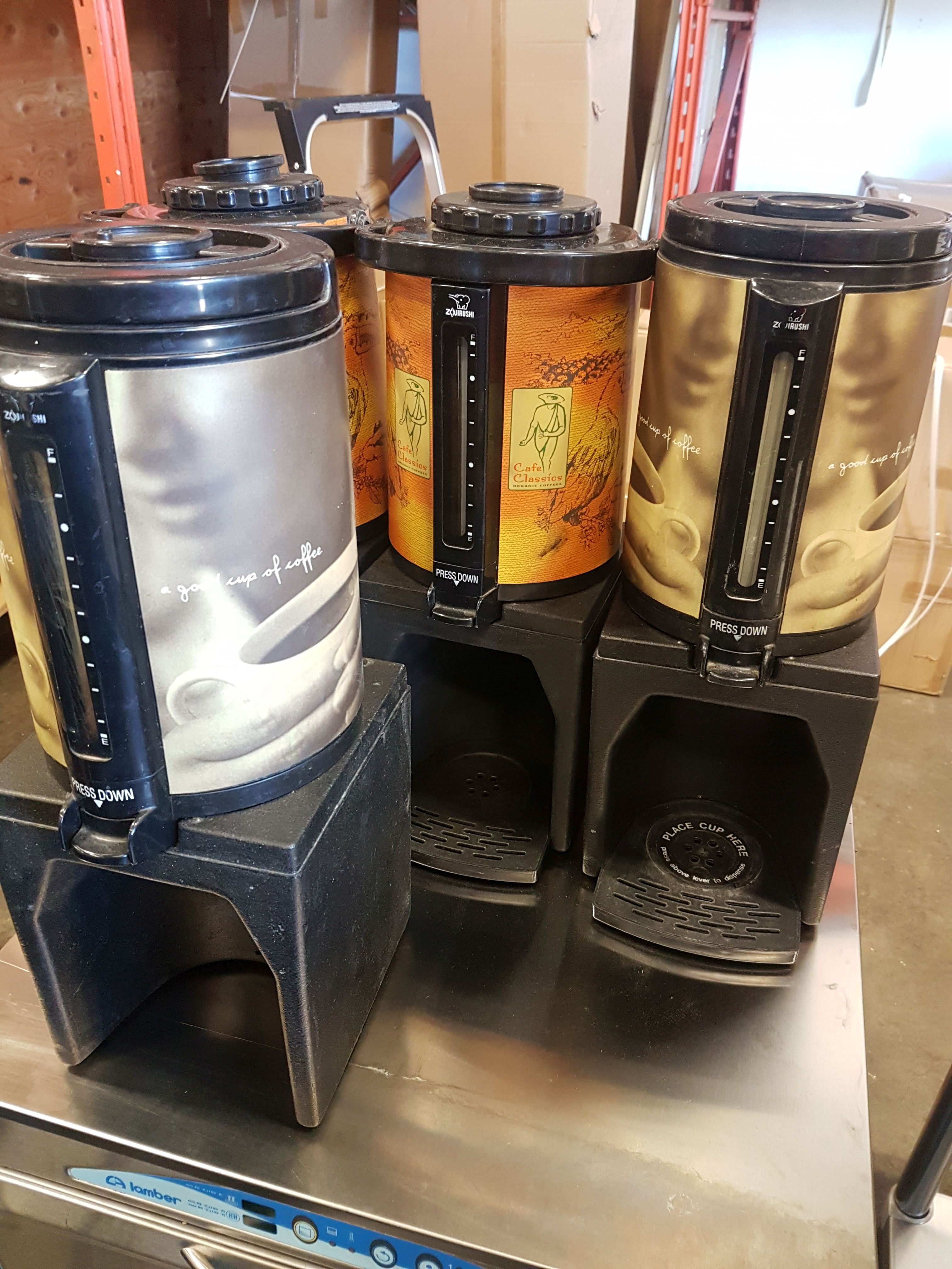 Lot 44 - Bunn Coffee Thermos on Stand - Lot of 4 Sets