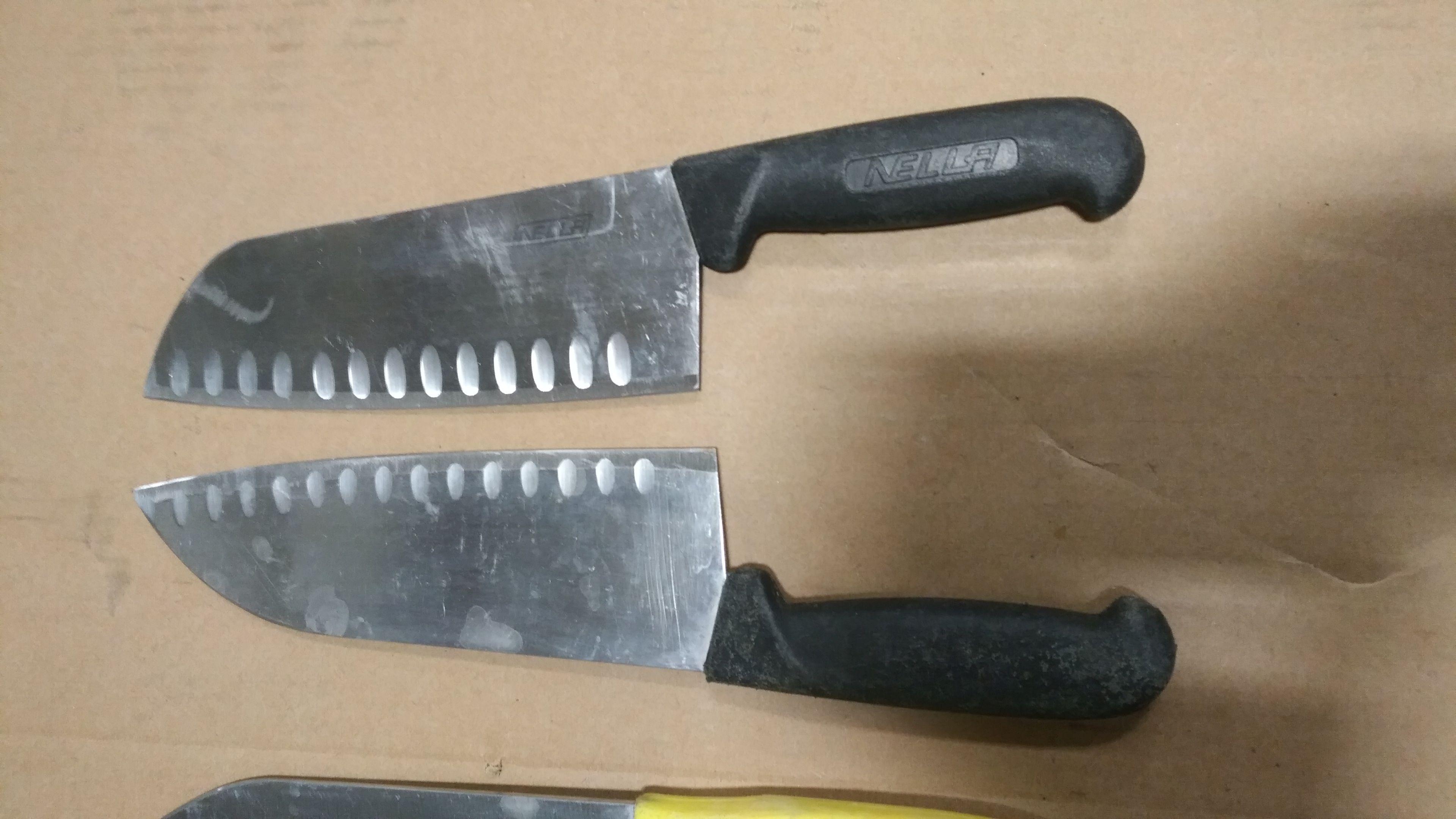 Lot 22 - Used/Sharpened Black Santoku Knives - lot of 2