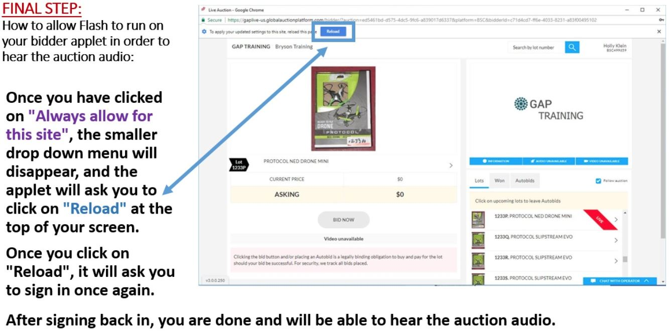 Lot 0G - CHROME USERS: HOW TO ALLOW FLASH IN ORDER TO HEAR AUDIO - STEP 4