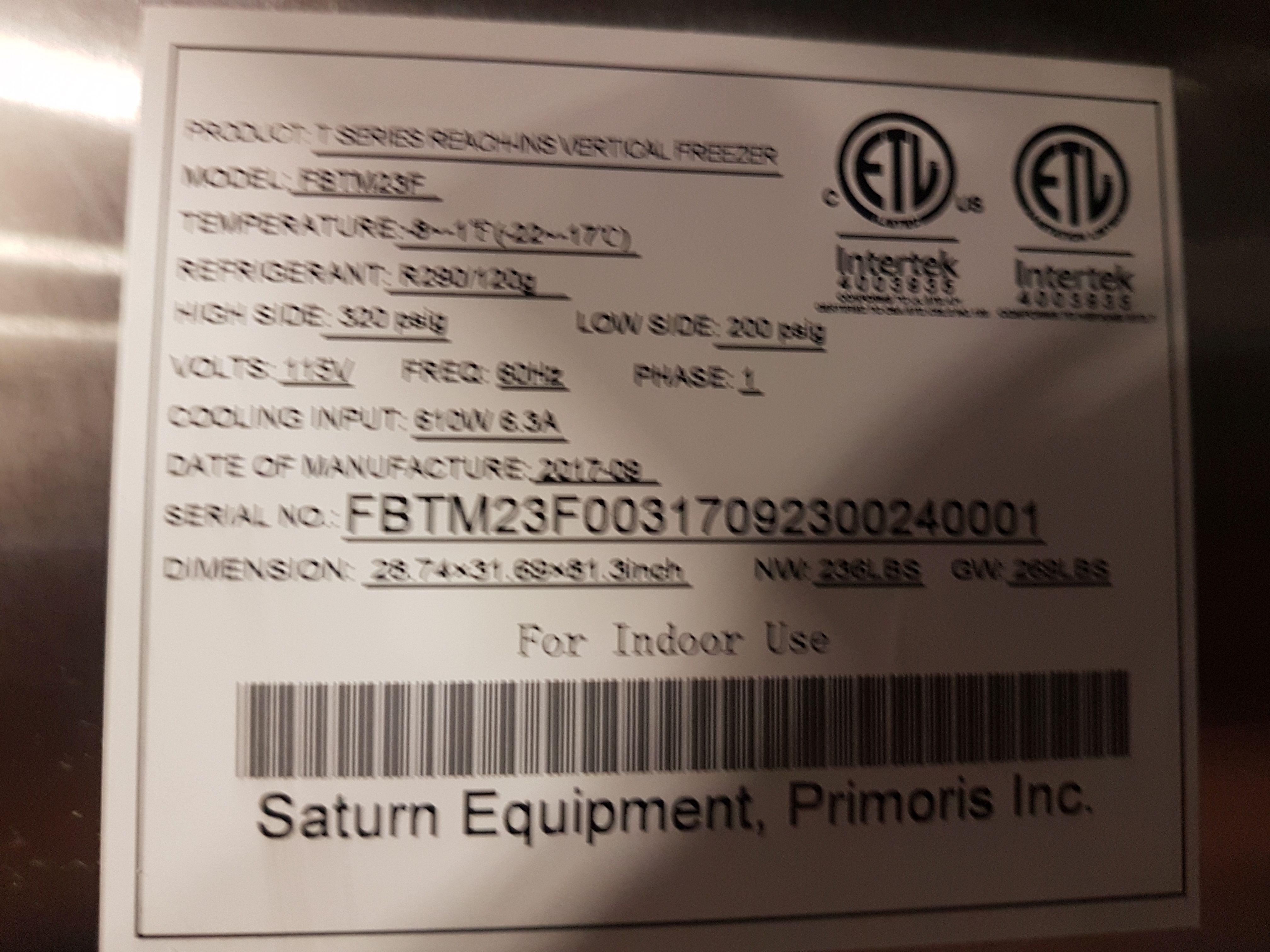 Lot 22 - Saturn Stainless Single Door Freezer - Model FBTM23F
