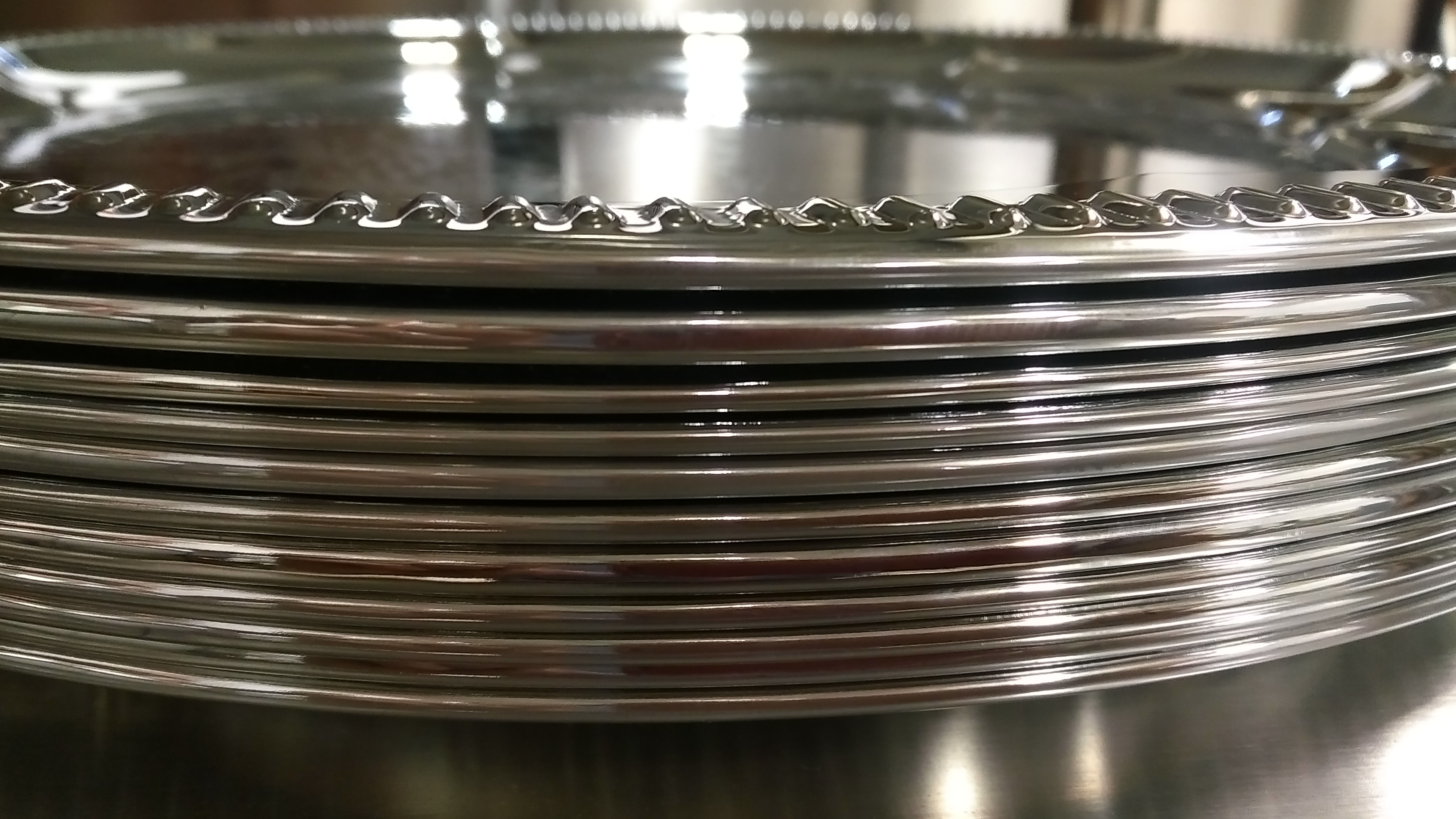"""Lot 8 - 14"""" Iron Serving Tray, Chrome Plated - Lot of 11"""