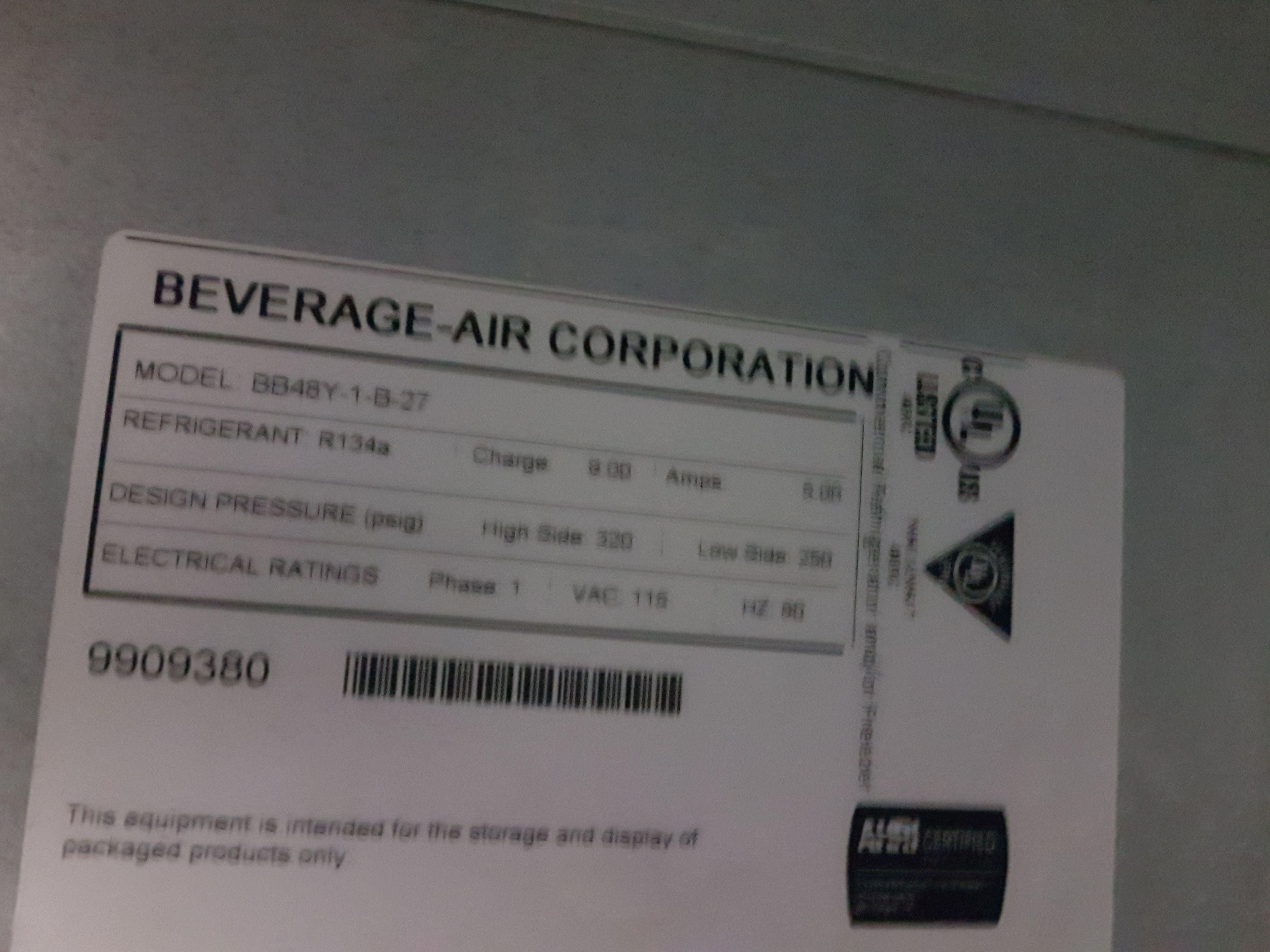 "Lot 37 - Beverage Air 48"" Back Bar - Model BB48Y"