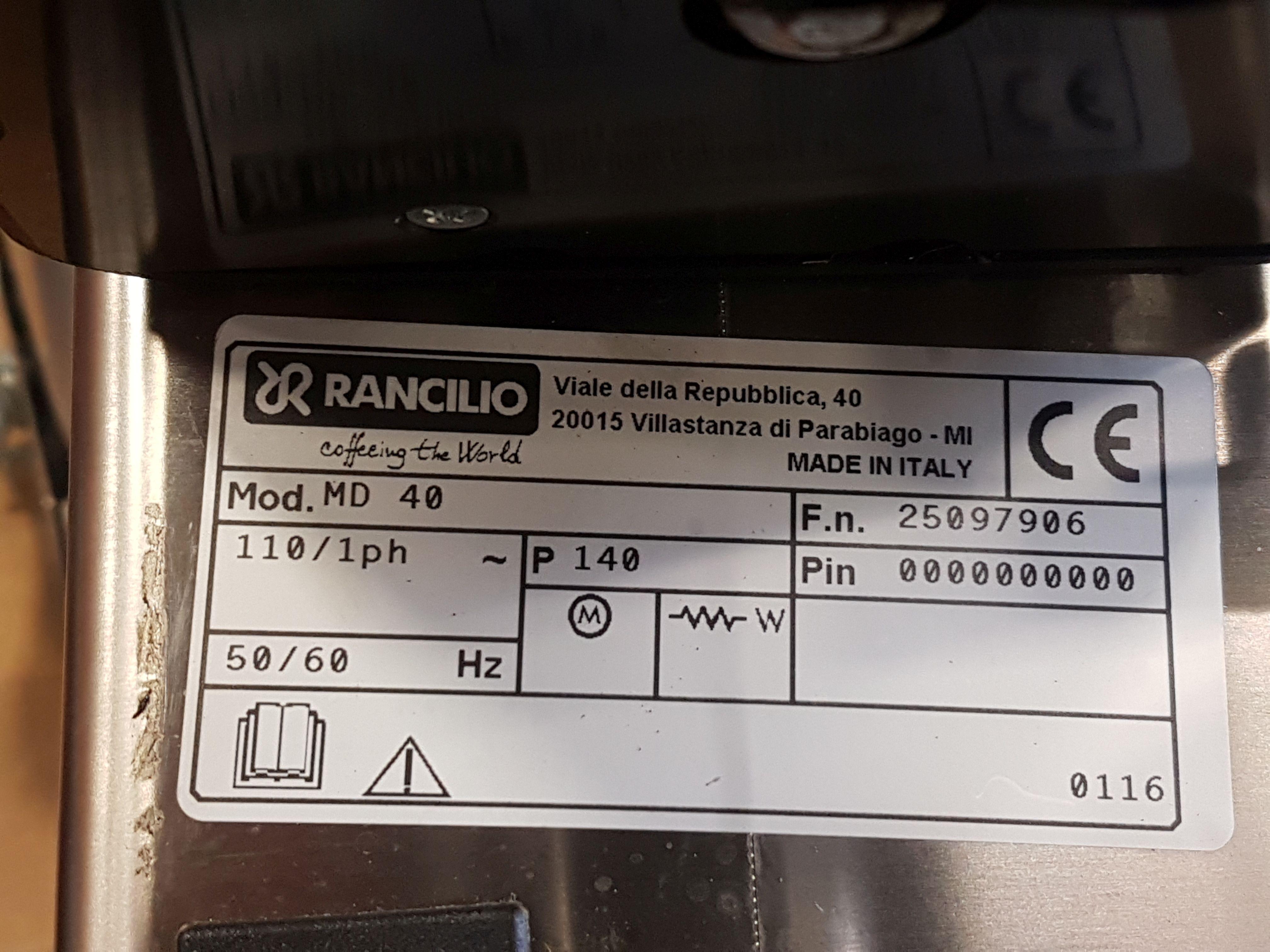 Lot 32 - Rancilio Expresso Grinder - Model MD 40