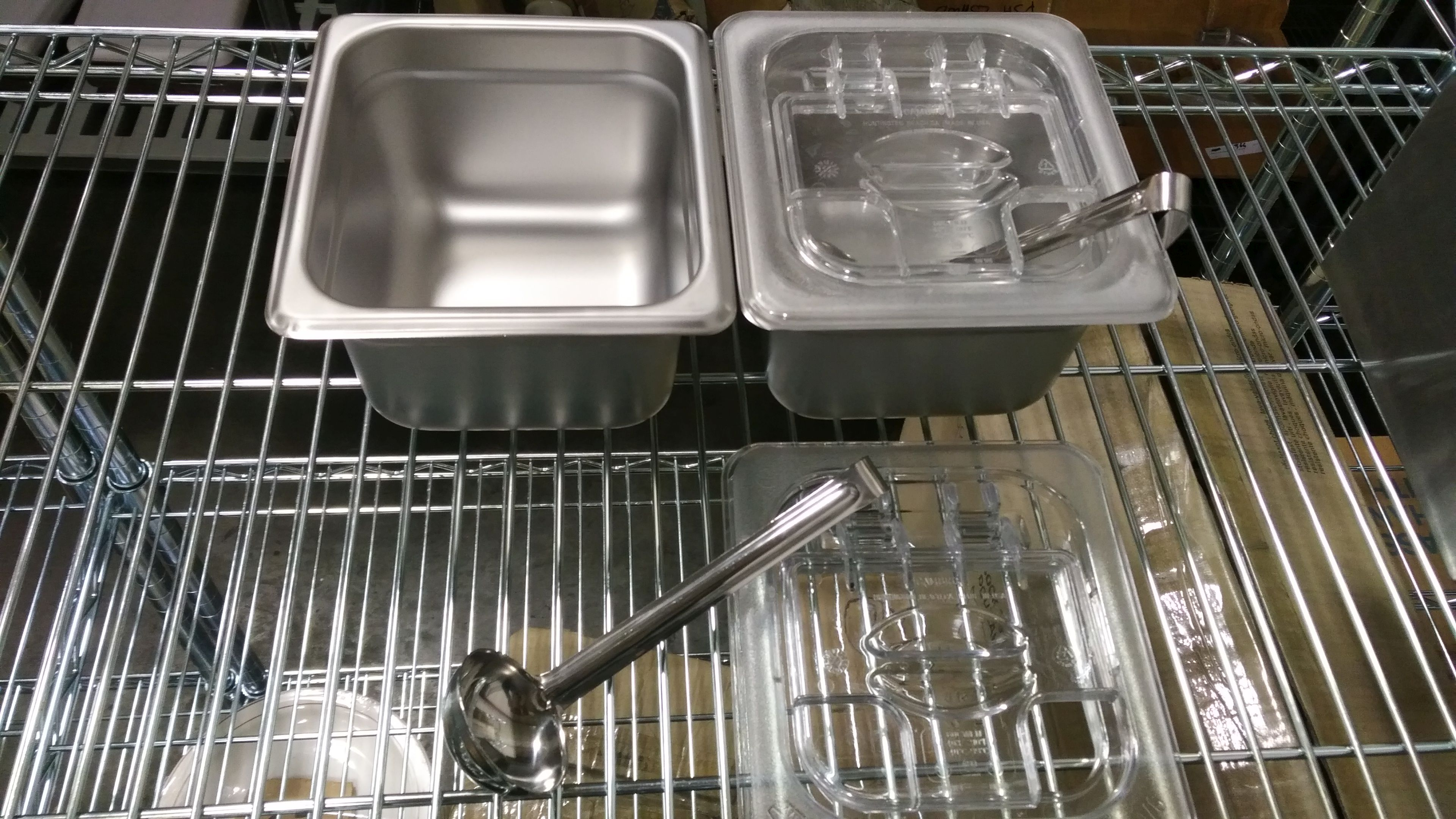 Lot 13 - Stainless 1/6 Insert With Cambro FlipLid & 1oz Ladel - Lot of 2 (6 Pieces)