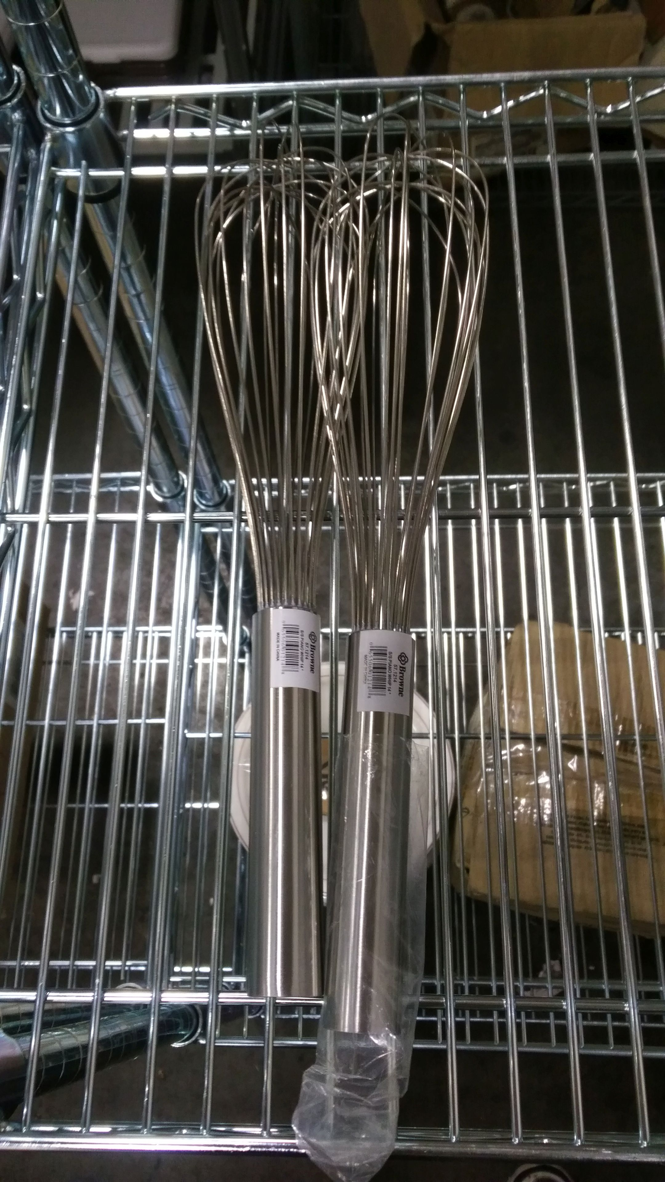 """Lot 20 - Browne 14"""" Stainless Piano Whips - Lot of 2"""