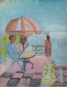 "Alfred Reth (Budapest, 1884 - Paris, 1966) ""Personnages sur la terrasse"" Oil on cardboard. Signed"