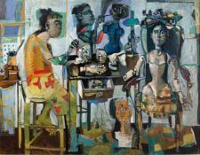 "Antoni Clavé (Barcelona, 1913 - Saint Tropez, 2005) ""Mannequins"" Oil on canvas. Signed. Painted in"