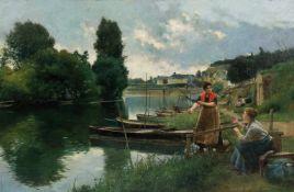 """Luis Jiménez Aranda (Seville, 1845 - Pontoise, 1928) """"Les Blanchisseuses à Pontoise, quai du"""