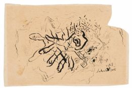 """Salvador Dalí (Figueres, 1904 - 1989) """"Putrefying hand with Ants"""" Ink drawing on paper. Signed and"""