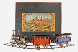 Schoenner Zugpackung, S 3, Spurweite 75, uralt, spiritusbetrieben, Tenderlok mit Brenner, Pfeife und