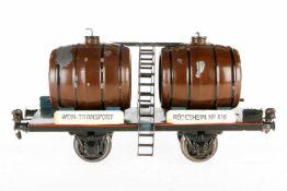 Märklin Weinwagen 1940, S 1, HL, Deckel ersetzt, kl. Ausbesserungen, LS und gealterter Lack, L 24,5,