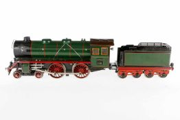Märklin 2-B Dampflok E 921, S 1, Uhrwerk intakt, grün/schwarz, mit Tender und 2 imit. Stirnlampen,