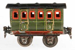Märklin Abteilwagen 1806, S 1, uralt, grün HL, mit Inneneinrichtung, 4 AT und 2 langen