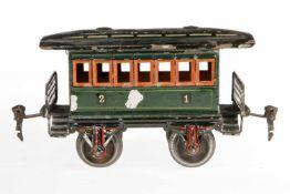 Märklin Personenwagen 1873, S 1, uralt, grün HL, LS und gealterter Lack, L 16,5, sonst noch Z 2