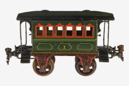 Märklin Durchgangswagen 1807, S 1, uralt, HL, mit Inneneinrichtung, 2 AT, 2A Messinggussräder,