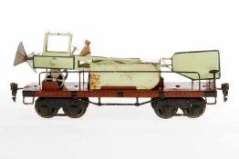 Märklin Flugzeugtransportwagen 1881, S 1, HL, mit Flugzeug, LS tw ausgebessert, gealterter Lack, L